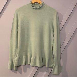 Halogen ruffle neck peplum sweater cozy chic